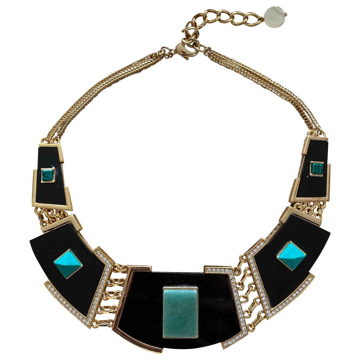 Non Signé / Unsigned \N Black Gold plated necklace for Women \N