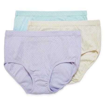 Jockey Elance Breathe 3 Pack Knit Brief Panty 1542, 10 , Multiple Colors