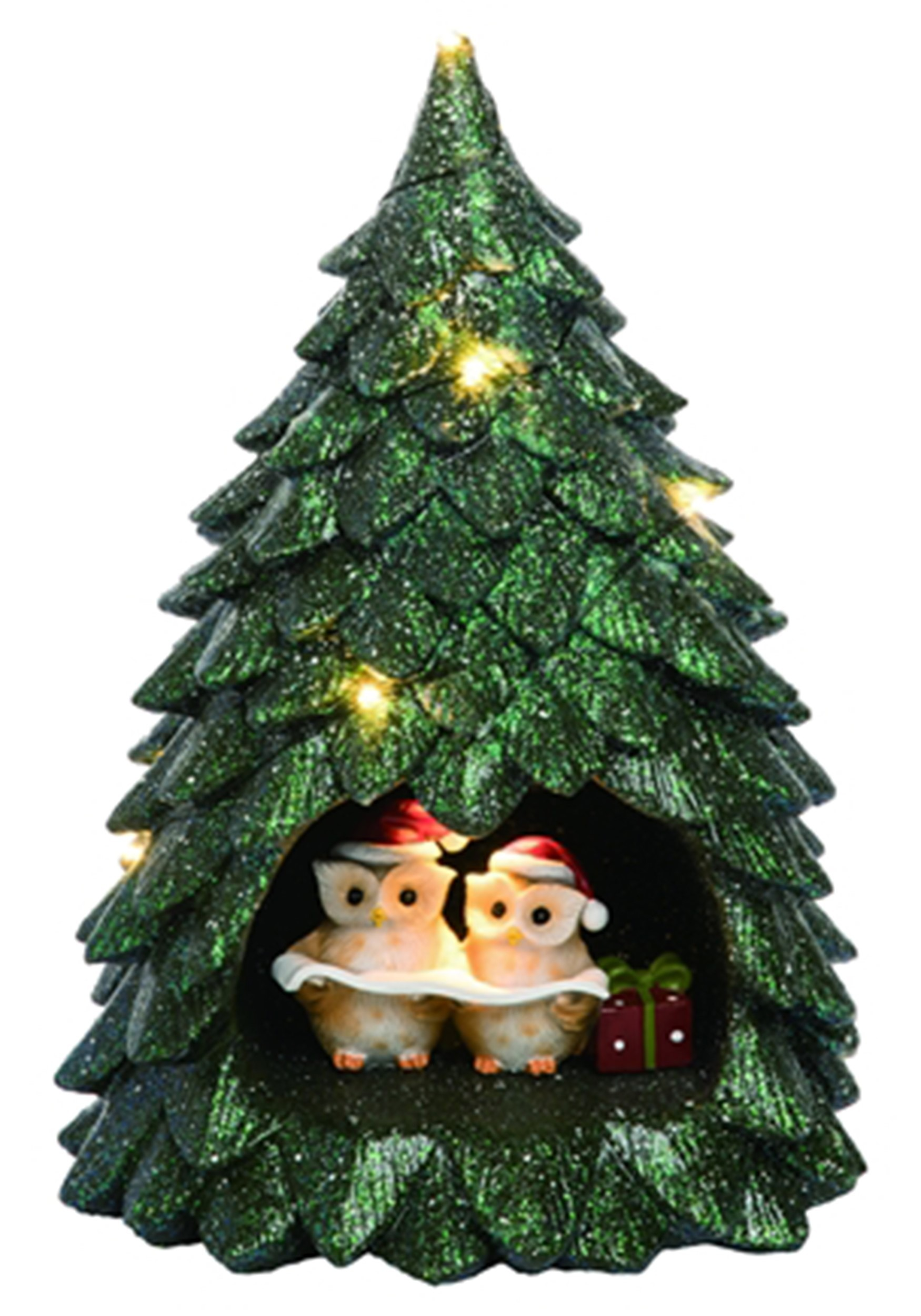 Clever Resin Light Up Owl Tree Christmas Decor