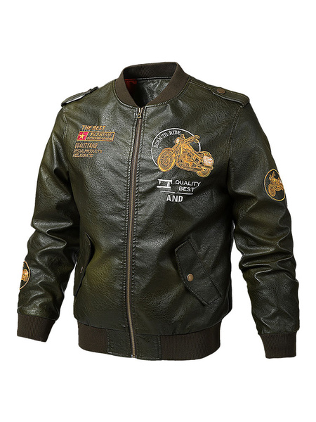 Milanoo Men's Military Style Vintage Leather Jackets Thicken Bomber Jacket