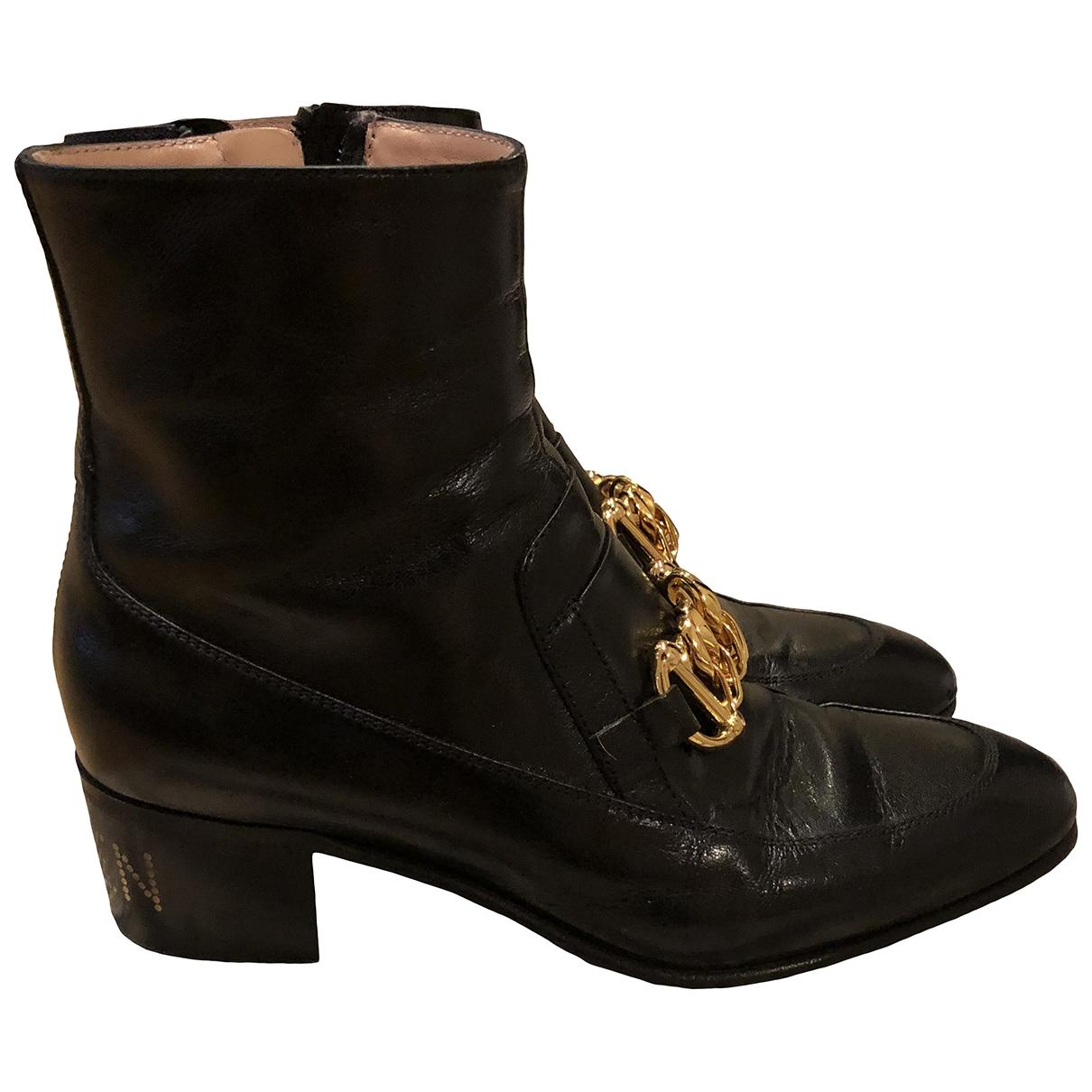 Gucci - Bottes   pour femme en cuir - noir