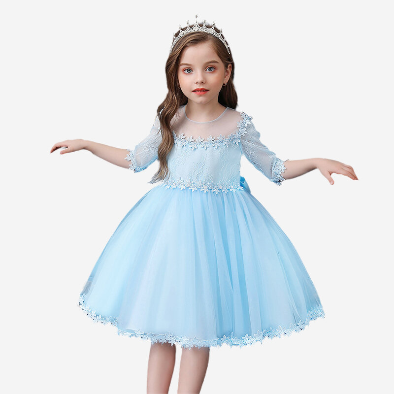 Flower Half Sleeves Tulle Patchwork Princess Wedding Birthday Dress For 1-7Y