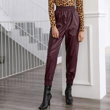 Slant Pocket Front PU Leather Pants