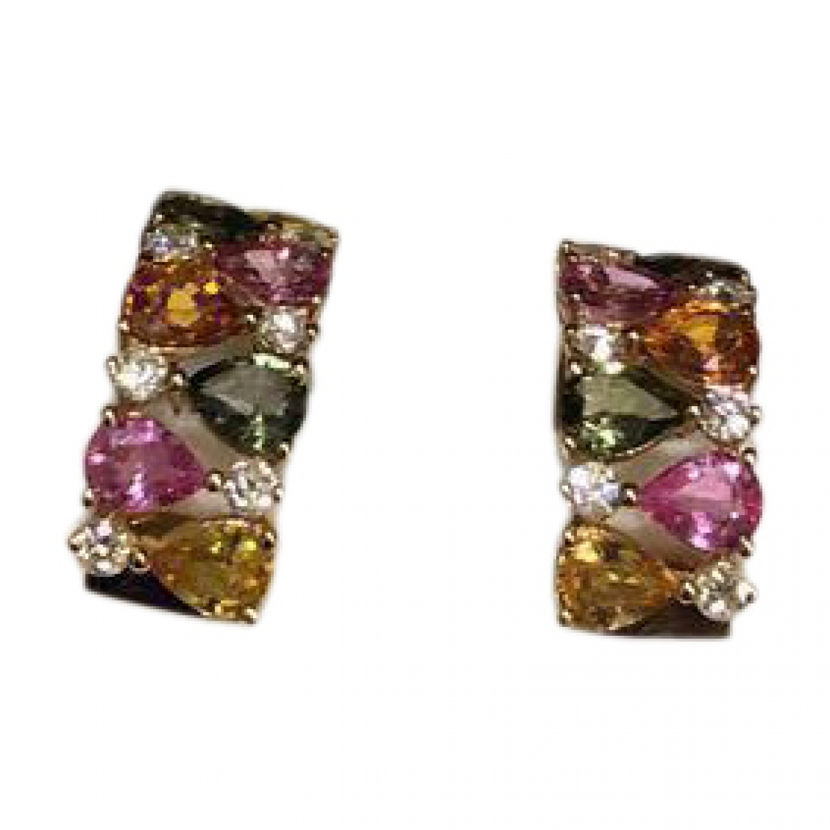 Non Signé / Unsigned Saphir Multicolour Yellow gold Earrings for Women \N