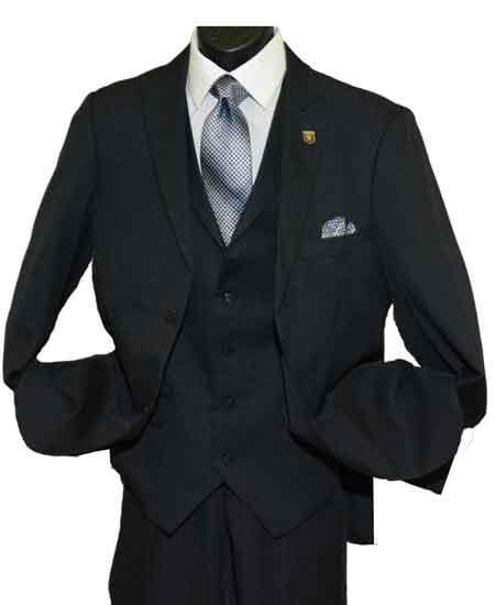 Men's 2 Button Side Vent Peak Lapel Single Breasted Vested Suit Black