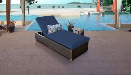 Belle Collection BELLE-1x-ST-NAVY Patio Set with 1 Chaise   1 Side Table - Wheat and Navy