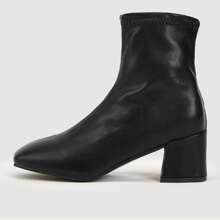 Square Toe Chunky Heel Boots