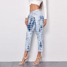 Jeans mit Batik und Karo Muster