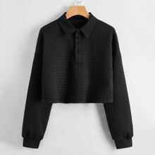 Solid Textured Polo Neck Sweatshirt