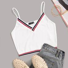 Striped Ribbed Cropped Cami Top