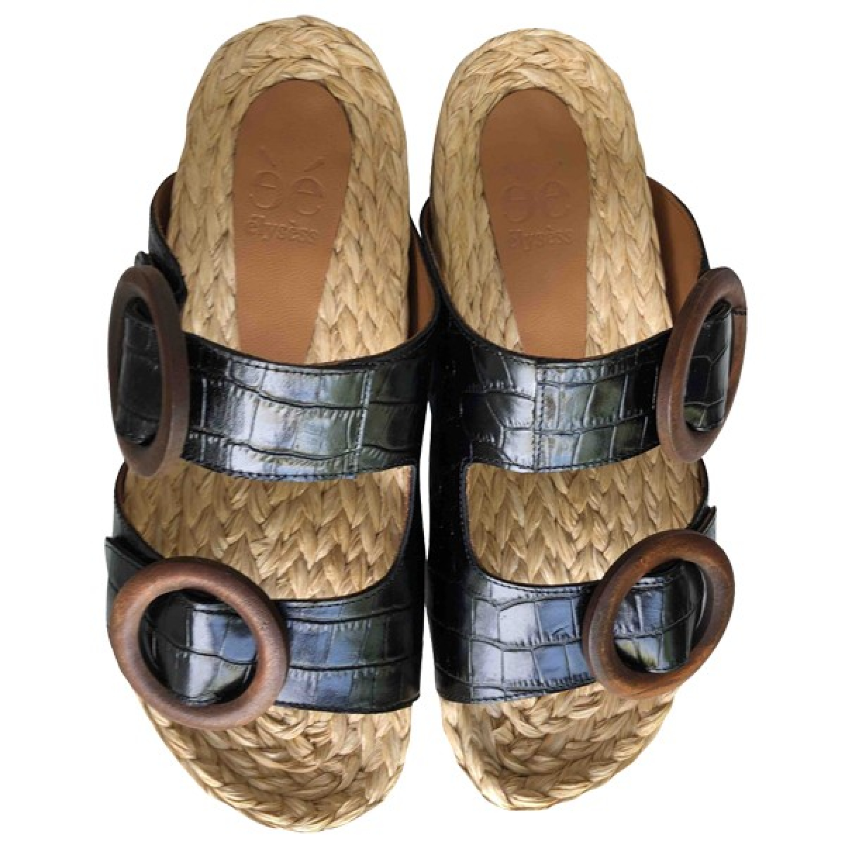 Non Signé / Unsigned \N Black Leather Sandals for Women 40 EU