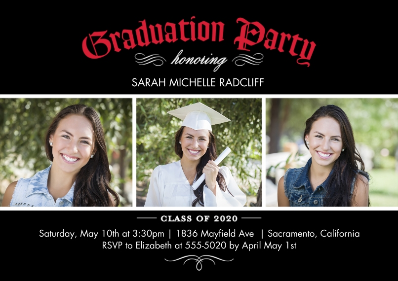 2020 Graduation Invitations 5x7 Cards, Standard Cardstock 85lb, Card & Stationery -Graduation 2020 Invite by Tumbalina
