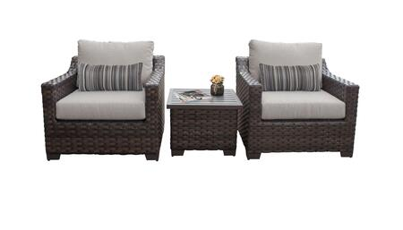 RIVER-03a Kathy Ireland Homes and Gardens River Brook 3-Piece Wicker Patio Set 03a - 1 Set of Truffle