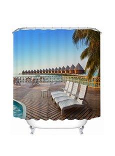 Seaside Resort in the Sunny Day 3D Printed Bathroom Waterproof Shower Curtain
