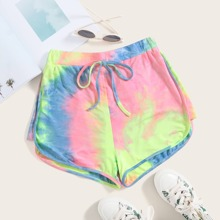 Knot Front Tie Dye Track Shorts