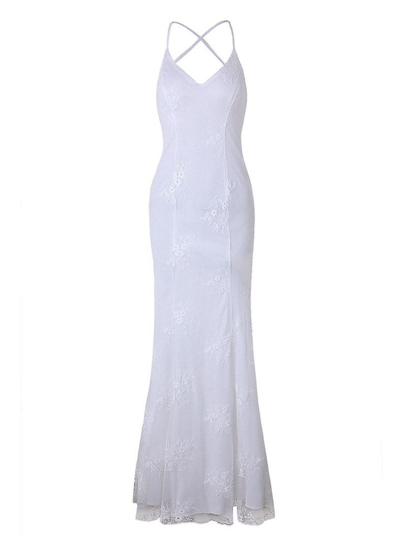 Ericdress Mermaid Spaghetti Strap Embroidery Women's Dress