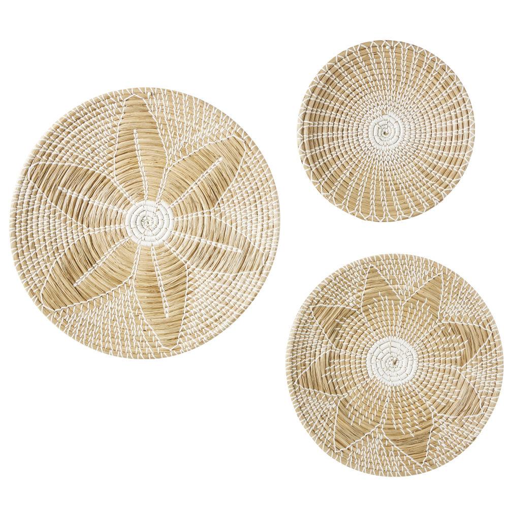 3 Wanddekos aus Seegras 60x60