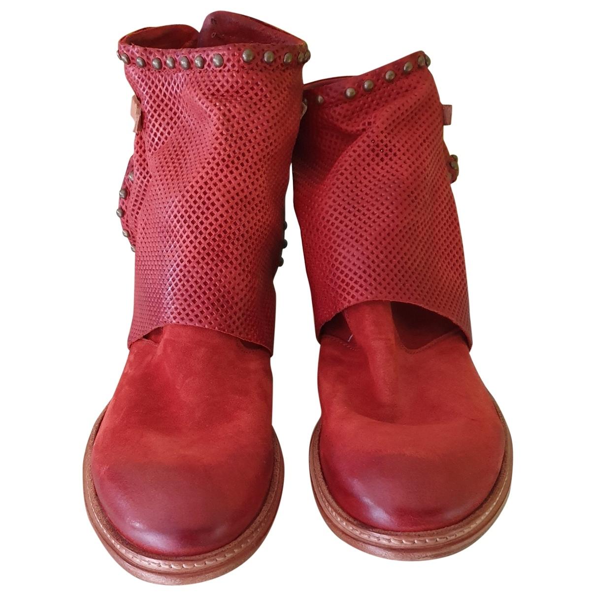 A.s.98 - Boots   pour femme en cuir - rouge