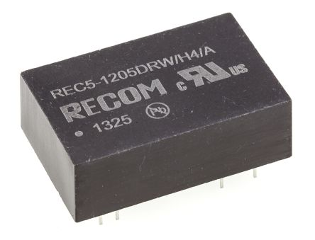Recom REC5 5W Isolated DC-DC Converter Through Hole, Voltage in 9 → 18 V dc, Voltage out ±5V dc Medical Approved