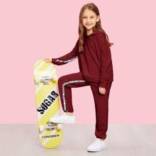 Conjunto de niñas capucha con cinta con letra con pantalones deportivos