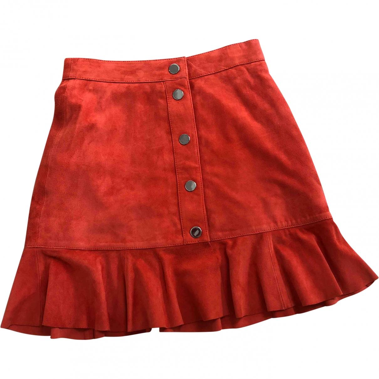 Ganni \N Orange Leather skirt for Women 34 FR