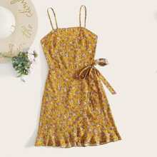 Shirred Back Ditsy Floral Knot Side Ruffle Wrap Cami Dress