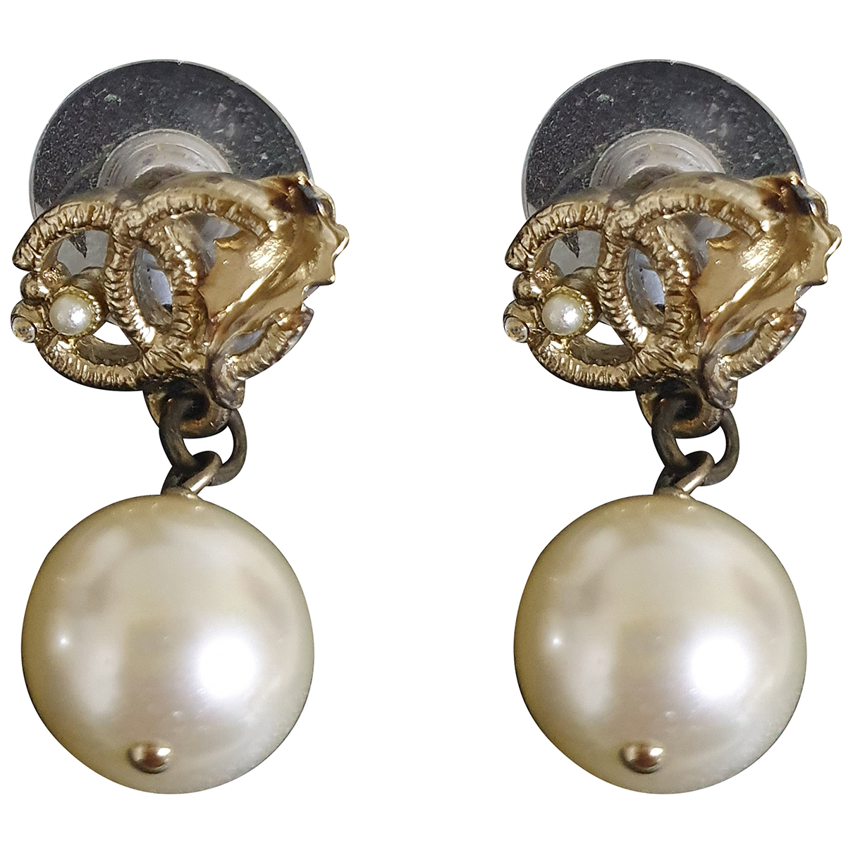 Chanel N Gold Pearls Earrings for Women N