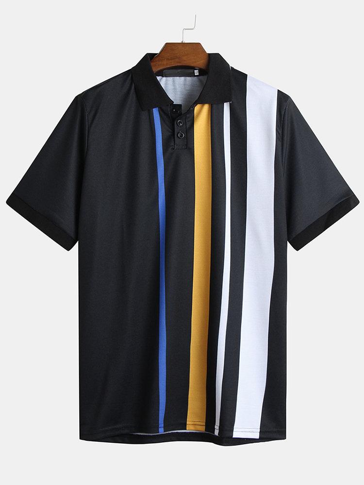 Mens Multi Color Stripe Printed Turn Down Collar Short Sleeve Loose Golf Shirts