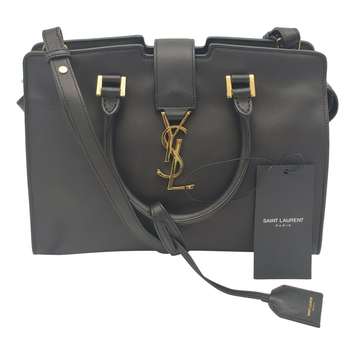 Saint Laurent Monogram Cabas Handtasche in  Schwarz Leder