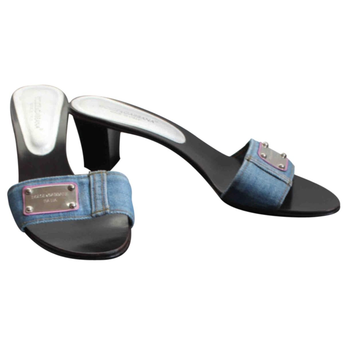 Dolce & Gabbana N Blue Cloth Mules & Clogs for Women 39 EU