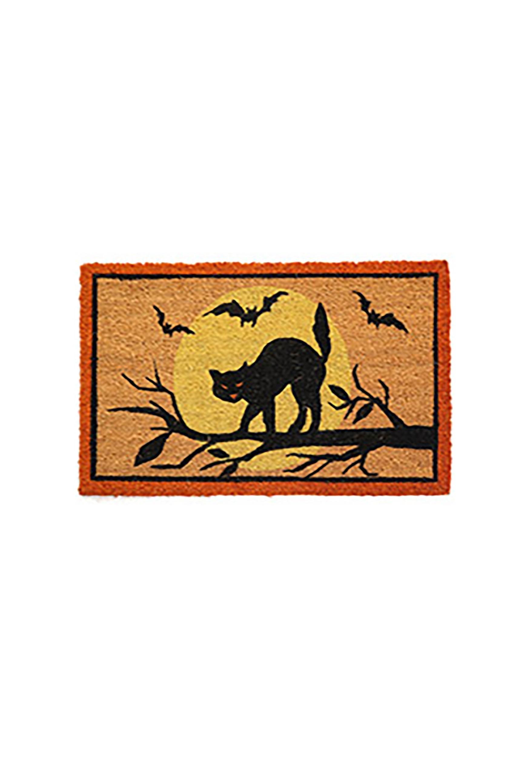 Black Cat Halloween Door Mat