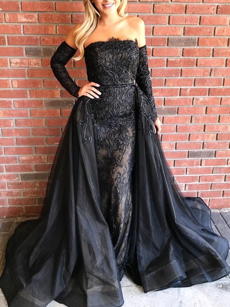 Ericdress Lace Off-The-Shoulder Sheath Black Evening Dress