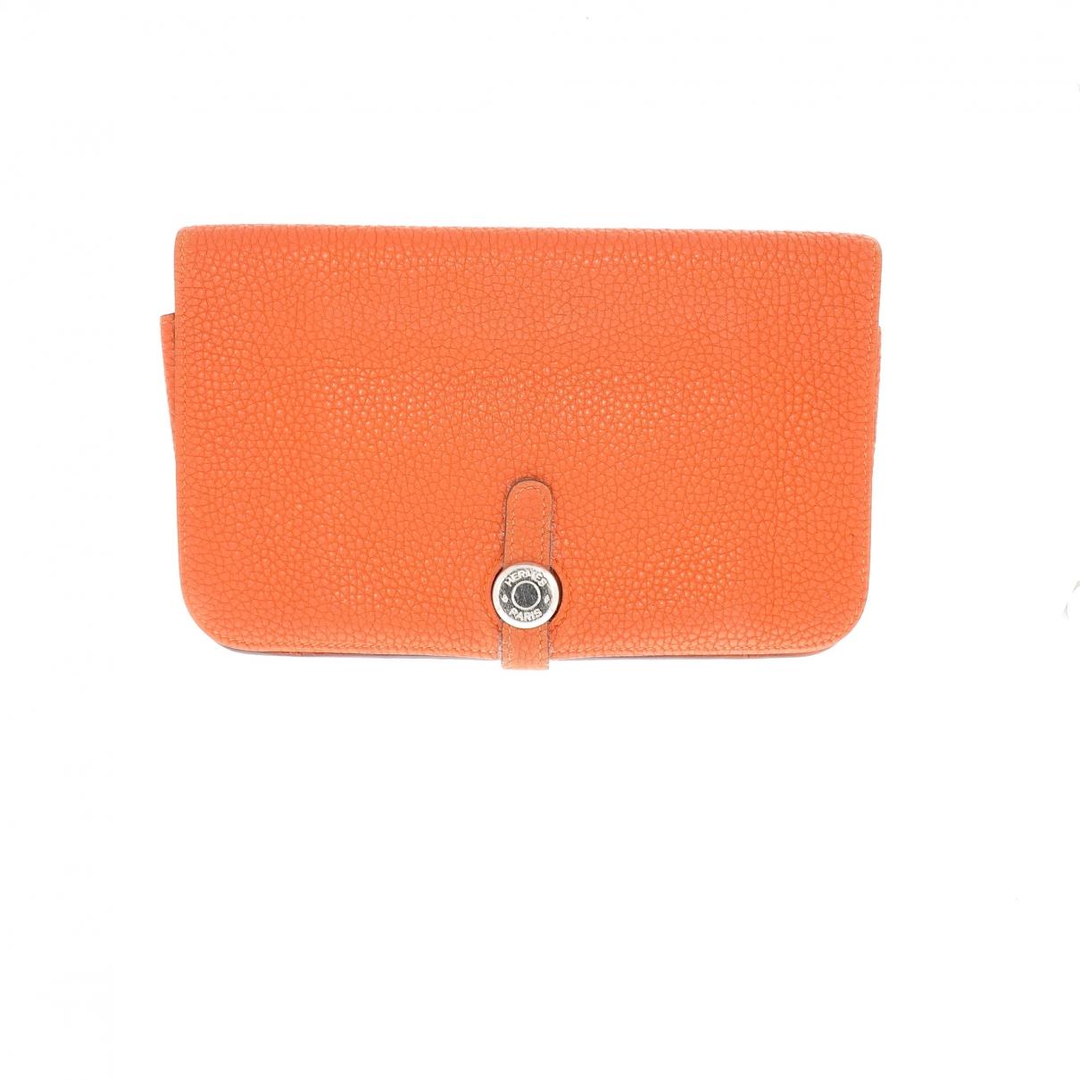 Hermes - Portefeuille Dogon pour femme en cuir - orange