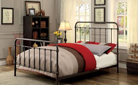 Iria Collection CM7701GM-EK Eastern King Size Platform Bed with 16 Spindles  Slat Kit Included  Metal Construction and Powder Coated in Dark Bronze