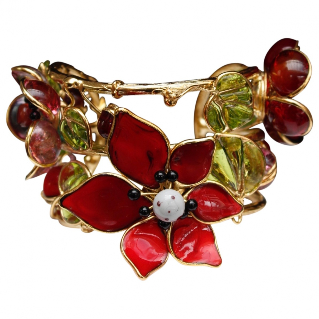 Non Signe / Unsigned Motifs Floraux Armband in  Rot Glas