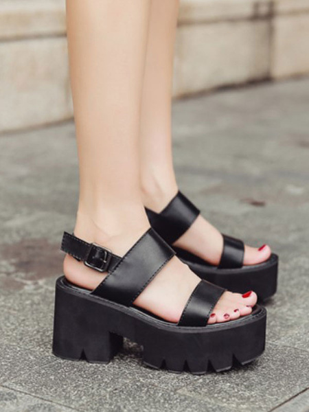 Milanoo Shoes Wedge Sandals Black PU Leather