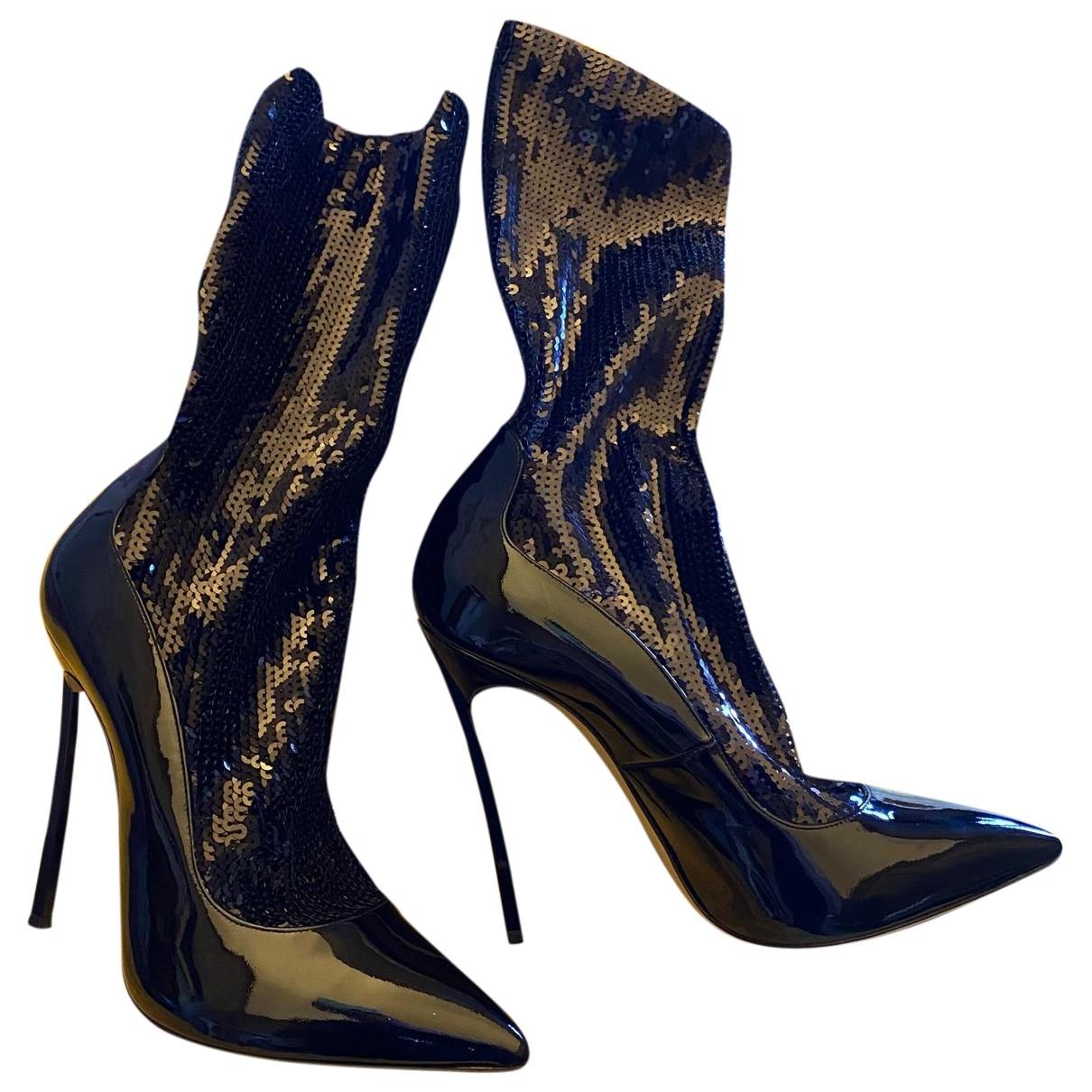 Casadei - Boots   pour femme en cuir verni - noir