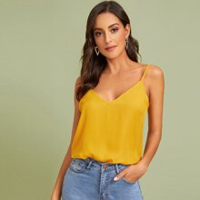 Double V-neck Solid Cami Top