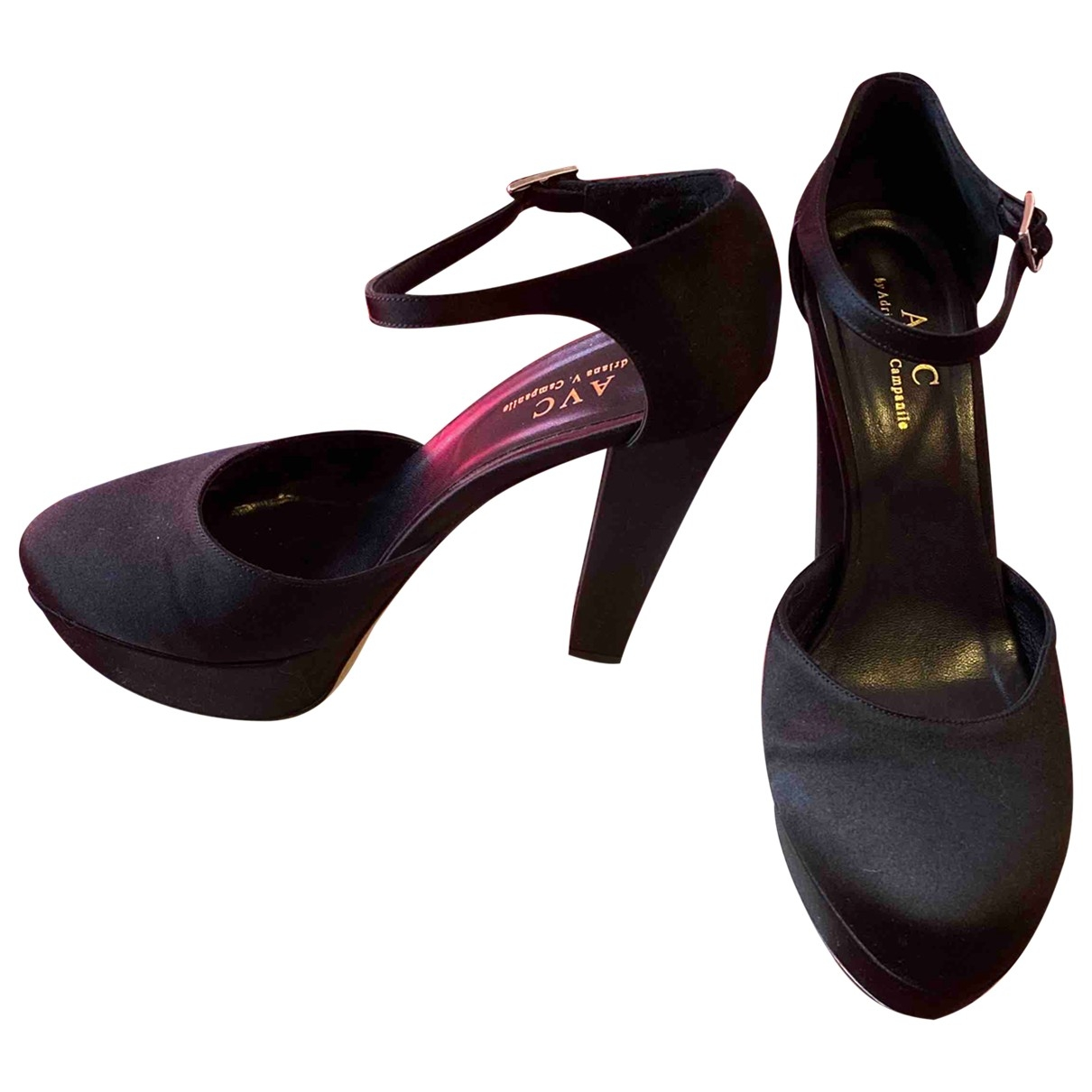 Non Signé / Unsigned \N Black Cloth Heels for Women 37.5 IT