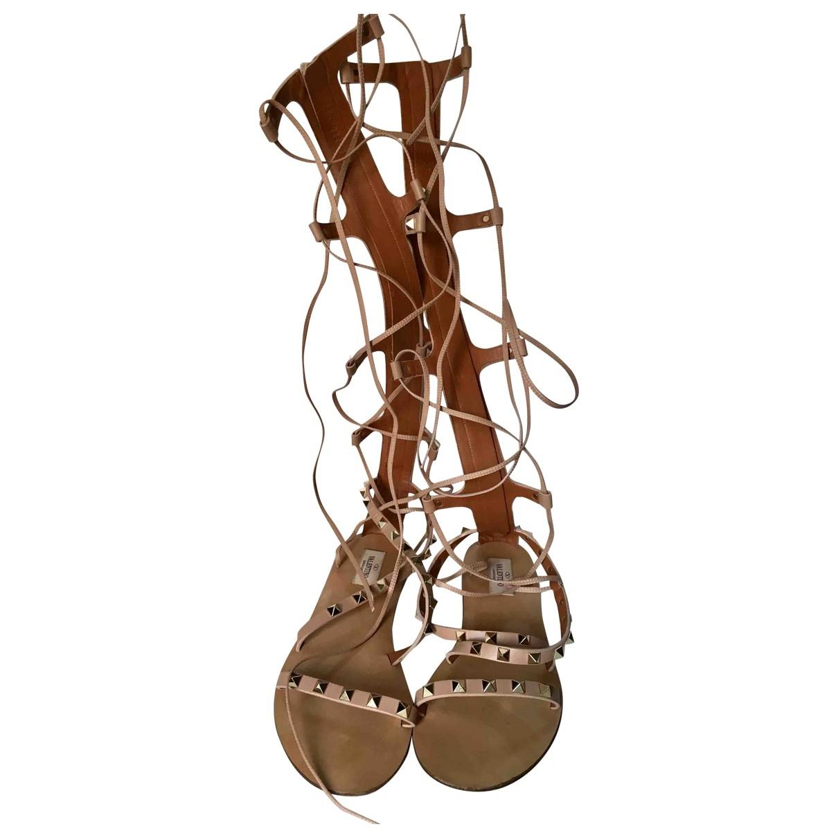 Valentino Garavani Rockstud Beige Leather Sandals for Women 38 EU