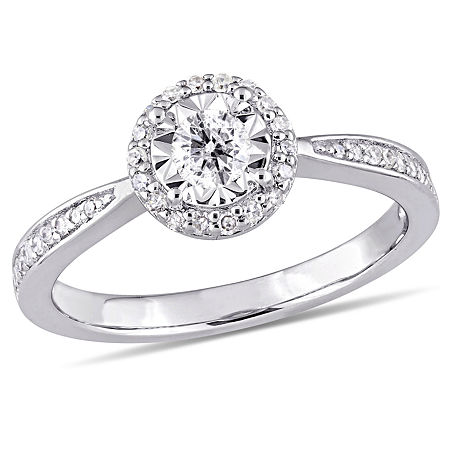 Womens 1/3 CT. T.W. Genuine White Diamond Sterling Silver Engagement Ring, 9 , No Color Family