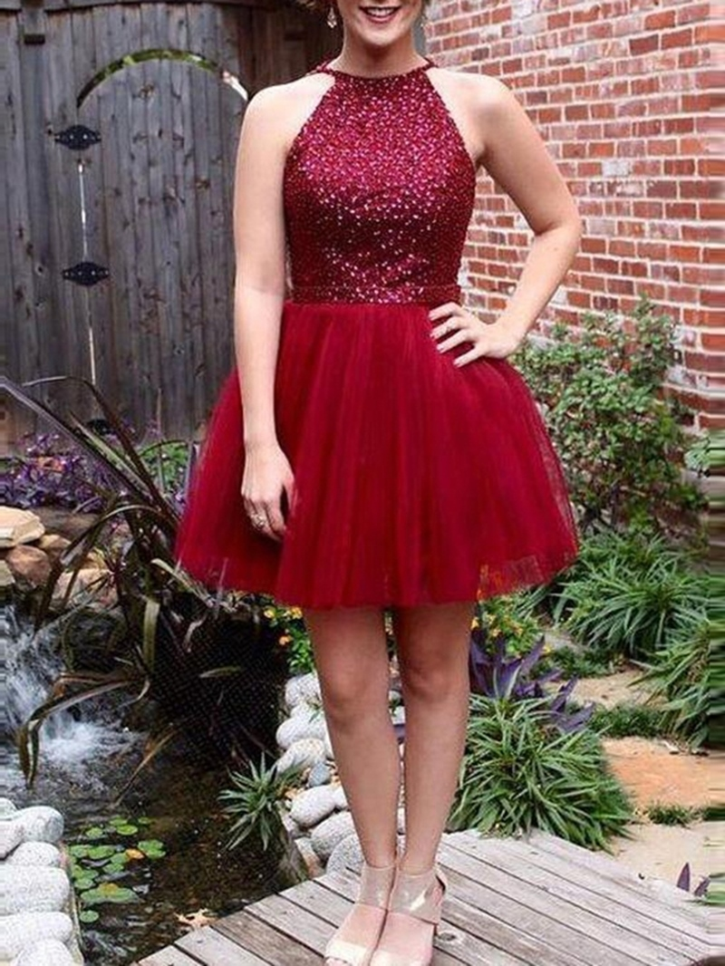 Ericdress Beading Jewel Sleeveless A-Line Homecoming Dress