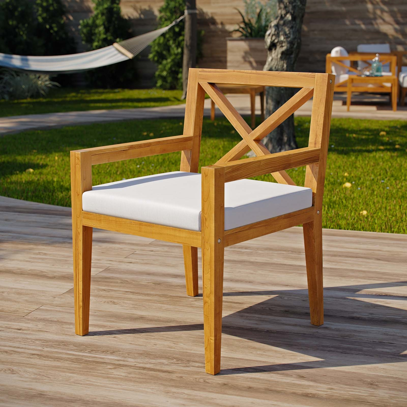 Northlake Outdoor Patio Premium Grade A Teak Wood Dining Armchair in Natural White