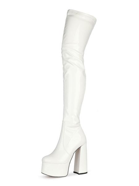 Milanoo Botas por encima de la rodilla Botas de invierno de plataforma de tacon alto con punta redonda negra para mujer