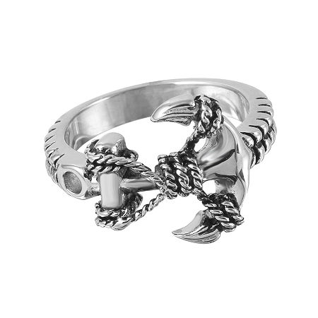 Mens Stainless Steel Braided Anchor Ring, 12 , No Color Family