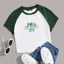 T-Shirt mit Buchstaben & Engel Muster und Raglanaermeln