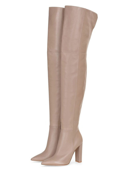 Milanoo Over The Knee Boots Apricot Pointed Toe Thigh High Wide Chunky Women\'s Boots
