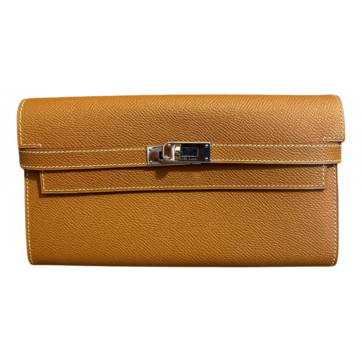 Hermes - Portefeuille Kelly pour femme en cuir - marron