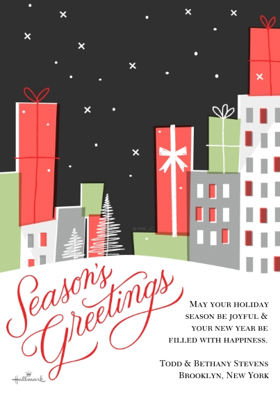 Holiday Photo Cards Flat Matte Photo Paper Cards with Envelopes, 5x7, Card & Stationery -Season's Greetings City Scene