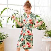 Girls Tropical Print Belted Robe